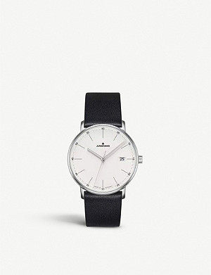 JUNGHANS FORM Quarz stainless steel and leather watch