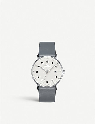 JUNGHANS: FORM Quarz stainless steel and leather watch