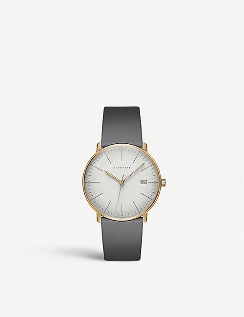 JUNGHANS 041/7857.00 Max Bill stainless steel and leather watch
