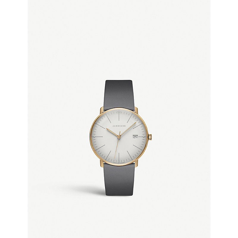 JUNGHANS 041/7857.00 Max Bill Stainless Steel And Leather Watch in Silver