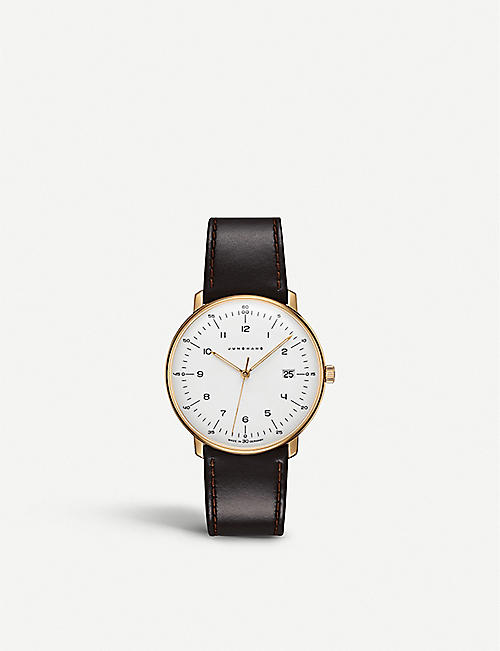 JUNGHANS: 041787200 Max Bill stainless steel and leather watch