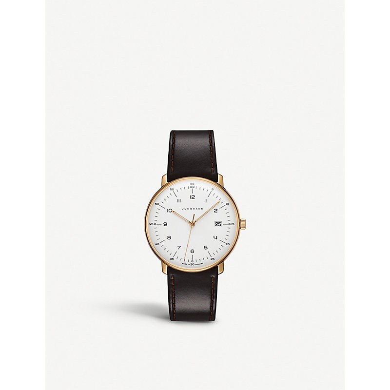 JUNGHANS 041787200 Max Bill Stainless Steel And Leather Watch in Brown