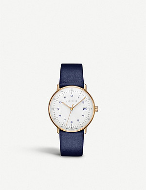 JUNGHANS 047785100 Max Bill stainless steel and leather watch