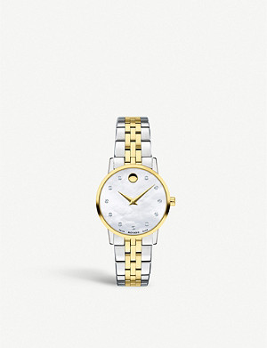 MOVADO Museum Classic stainless steel, yellow gold and diamond watch