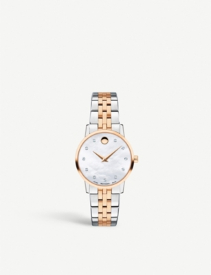 MOVADO Museum Classic stainless steel, rose gold and diamond watch