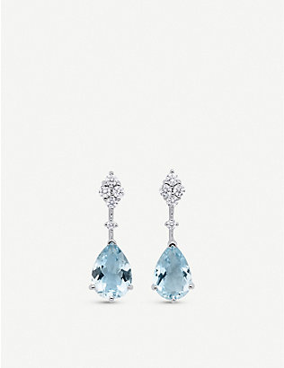 BUCHERER FINE JEWELLERY: 18ct white-gold, aquamarine and 0.22ct diamond earrings