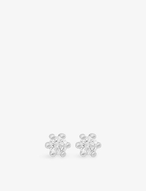 BUCHERER FINE JEWELLERY: Darling 18ct white-gold and 0.1ct diamond earrings