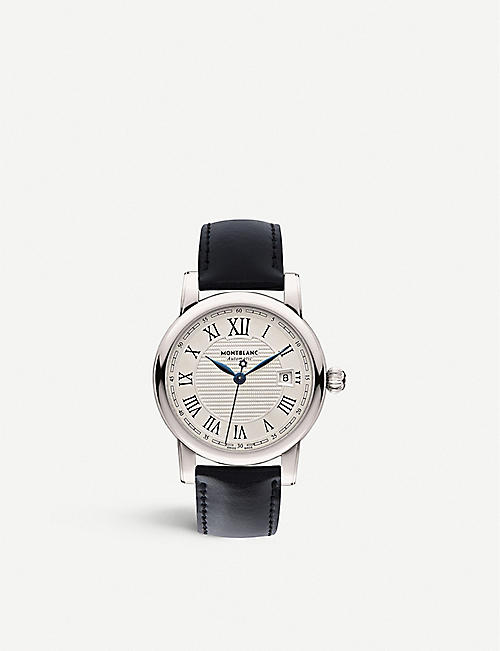 MONTBLANC: 107114 Star stainless steel and leather watch