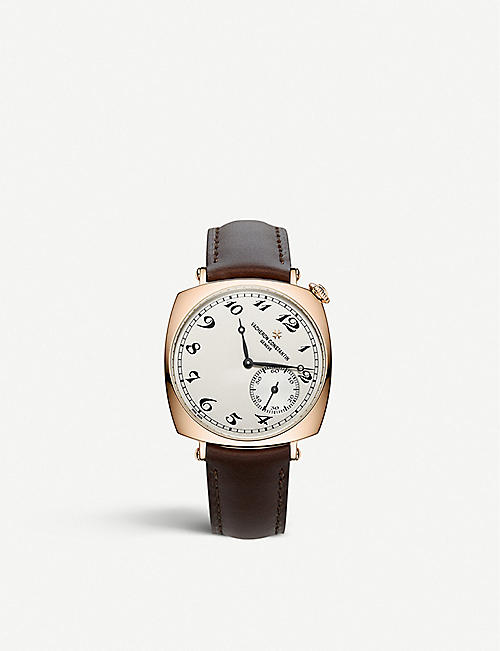 VACHERON CONSTANTIN: 1100S/000R-B430 Historiques American 1921 18ct rose-gold and leather strap manual-winding watch