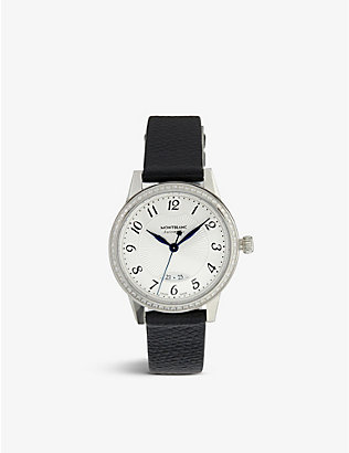 MONTBLANC: 111057 Boheme stainless steel, diamond and leather watch