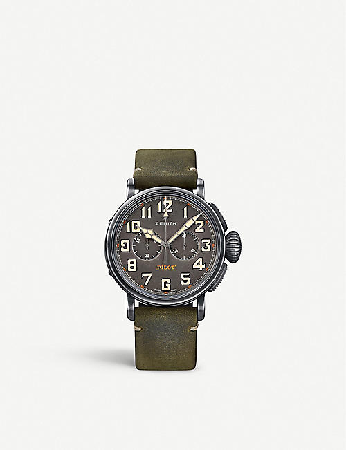 ZENITH 112430406921C773 Pilot Type 20 Extra Special round green leather strap watch