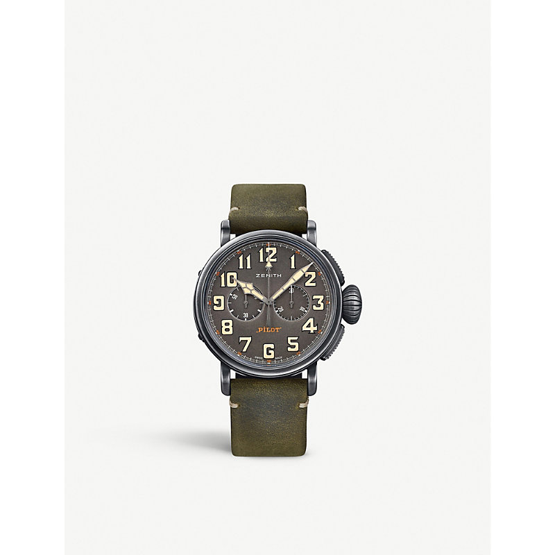 Zenith 112430406921c773 Pilot Type 20 Extra Special Round Green Leather Strap Watch In Brown