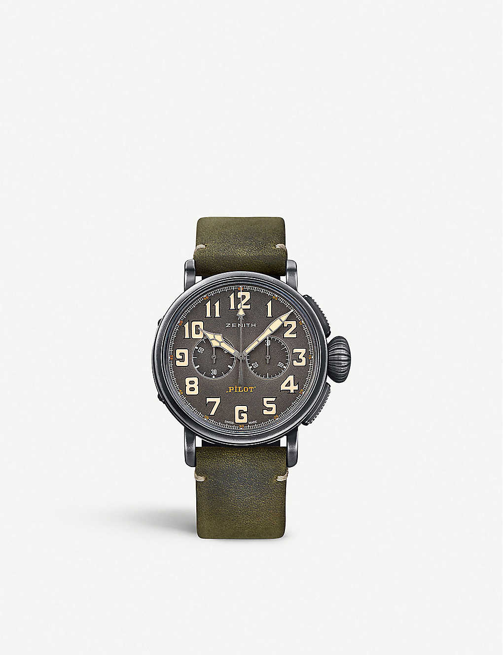 ZENITH: 112430406921C773 Pilot Type 20 Extra Special round green leather strap watch