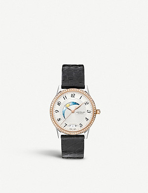 MONTBLANC 112499 Boheme 18ct rose-gold, diamond and leather strap watch