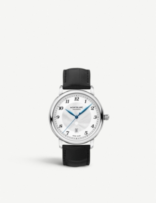 MONTBLANC 116511 Star Legacy stainless steel and leather watch