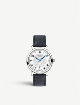MONTBLANC 116522 Star Legacy stainless steel and leather watch