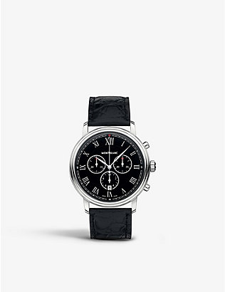 MONTBLANC: 117047 Tradition stainless steel and leather watch