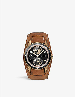 MONTBLANC: 1858 Geosphere bronze and calf leather watch