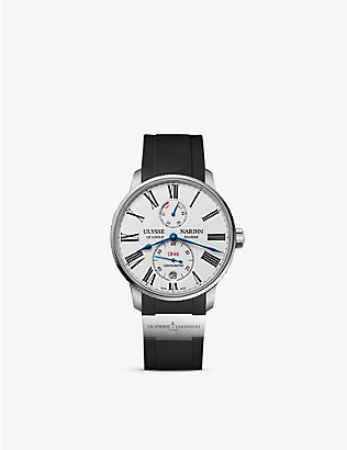 ULYSSE NARDIN: 1183-310/40 Marine Torpilleur stainless steel and leather watch