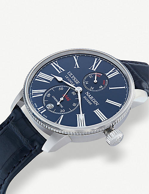 ULYSSE NARDIN 1183-310-3/43 Marine Torpilleur stainless steel and leather watch