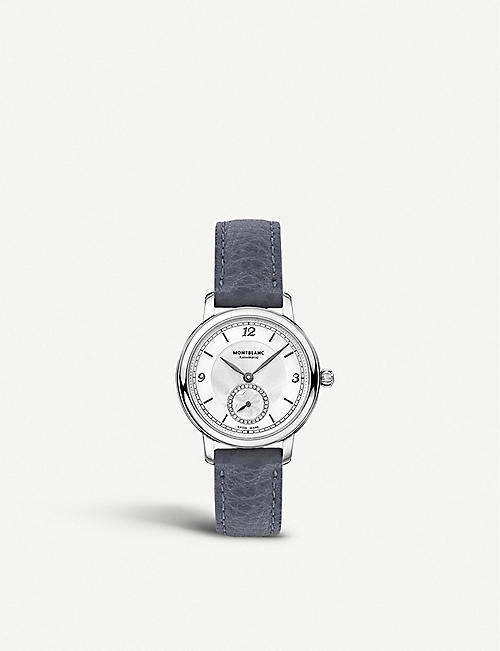 MONTBLANC: 118536 Star Legacy stainless steel, diamond and grained-leather watch