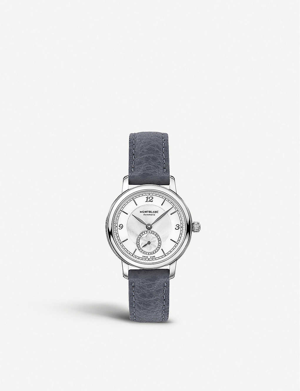 MONTBLANC: 118536 Star Legacy stainless steel, diamond and leather watch
