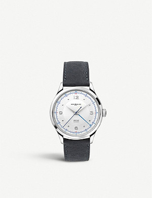 MONTBLANC 119948 Heritage GMT stainless steel and leather watch