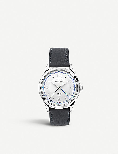 MONTBLANC: 119948 Heritage GMT stainless steel and leather watch