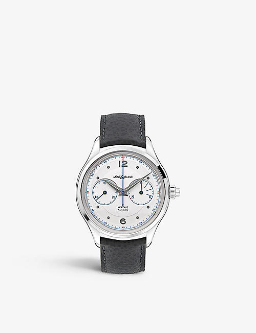 MONTBLANC: 119951 Heritage Monopusher Chronograph stainless steel and leather watch