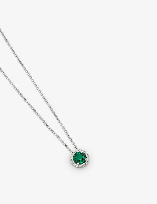 BUCHERER FINE JEWELLERY: Entourage 18ct white-gold, 0.77ct emerald and 0.06ct diamond necklace