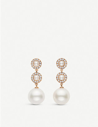CARL F BUCHERER: Mini pearl, diamond and 18ct rose-gold earrings