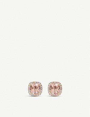 BUCHERER FINE JEWELLERY Blush 18ct rose-gold, morganite and diamond stud earrings