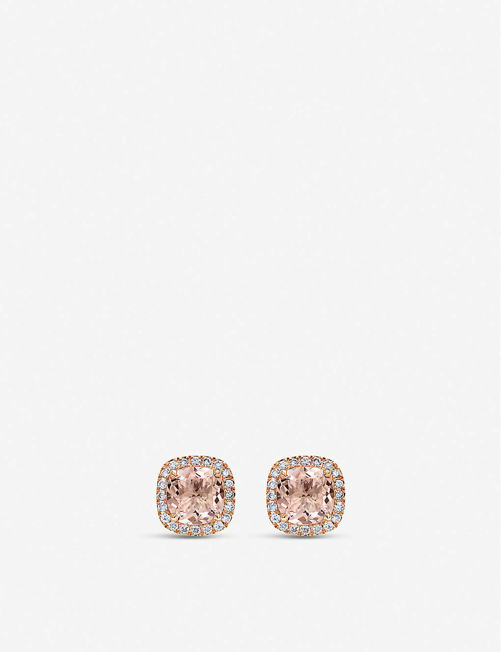 CARL F BUCHERER: Blush 18ct rose-gold, morganite and diamond stud earrings