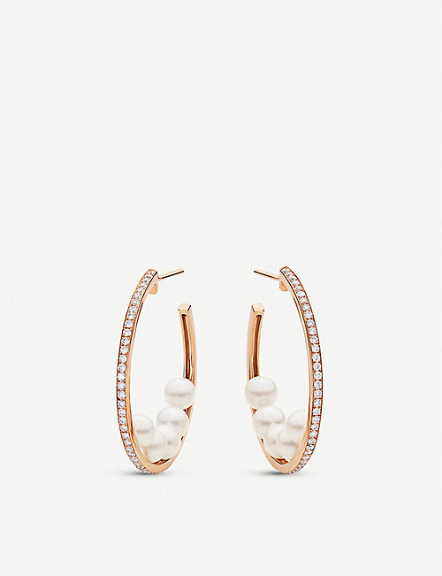 BUCHERER FINE JEWELLERY: Mini Pearls 18ct rose-gold, pearl and 0.54ct diamond hoop earrings