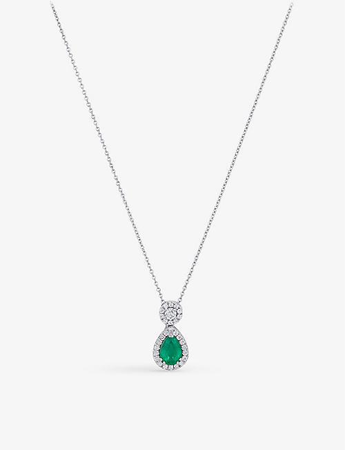 BUCHERER FINE JEWELLERY: Entourage 18ct white-gold, emerald and diamond necklace