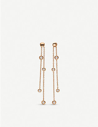 BUCHERER FINE JEWELLERY: Floating Diamond 18ct rose-gold and diamond earrings