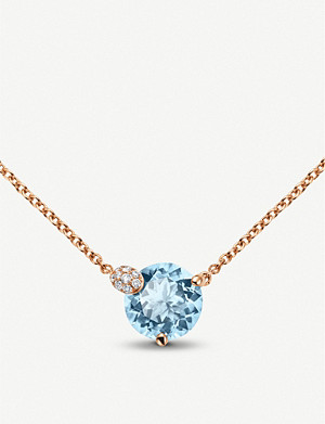 BUCHERER FINE JEWELLERY Peekaboo rose-gold and aquamarine necklace