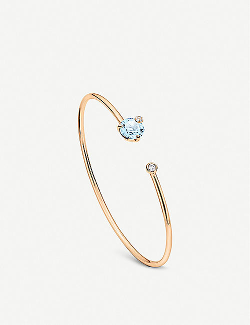 BUCHERER FINE JEWELLERY: Peekaboo 18ct rose gold, aquamarine and diamond bangle bracelet