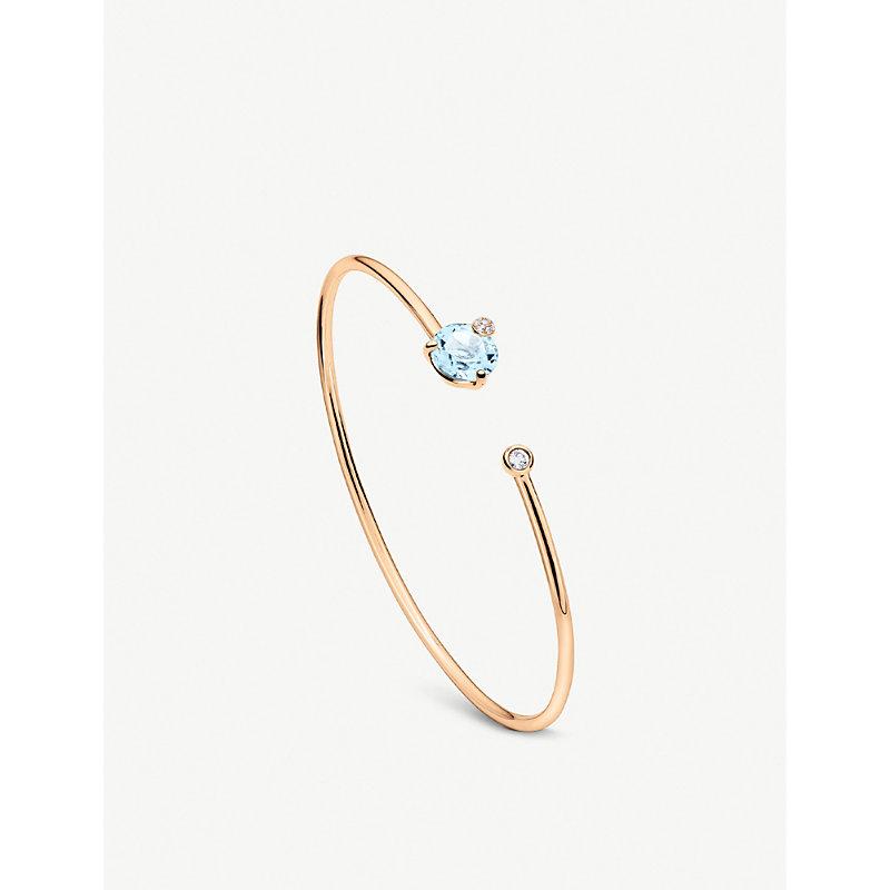 BUCHERER   Peekaboo 18ct Rose Gold, Aquamarine And Diamond Bangle Bracelet   Goxip