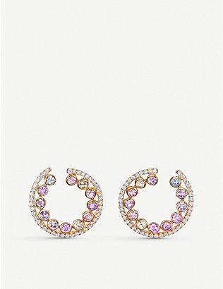 BUCHERER FINE JEWELLERY: Pastello 18ct rose-gold and sapphire earrings