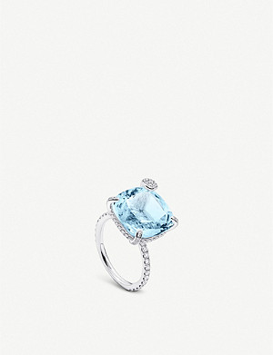 BUCHERER FINE JEWELLERY Peekaboo studded 18ct white gold, aquamarine and diamond ring