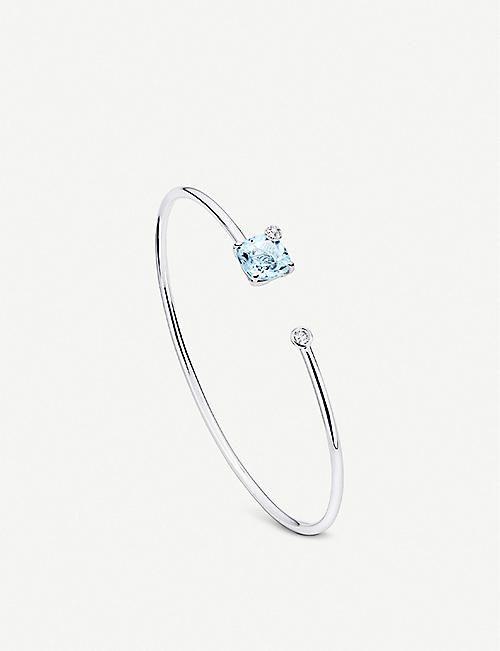 BUCHERER FINE JEWELLERY: Peekaboo 18ct white gold, aquamarine and diamond bangle bracelet