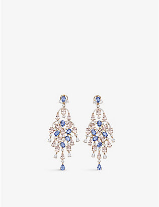 CARL F BUCHERER: 18ct rose-gold, morganite and diamond chandelier earrings