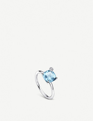 BUCHERER FINE JEWELLERY Peekaboo white-gold and aquamarine ring