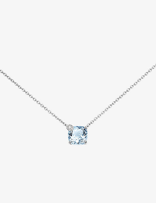 BUCHERER FINE JEWELLERY: Peekaboo 18ct white-gold, 0.05ct brilliant-cut diamond and 2ct cushion-cut aquamarine pendant necklace