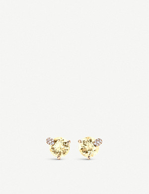 BUCHERER FINE JEWELLERY Peekaboo 18ct rose-gold, diamond and beryl earrings
