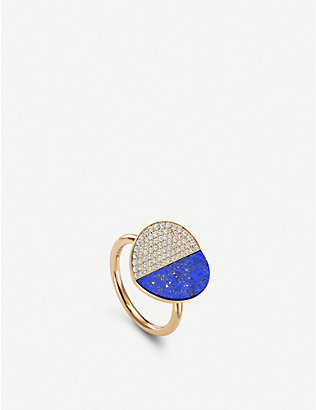 BUCHERER FINE JEWELLERY: B Dimension 18ct yellow-gold, diamond and lapis ring