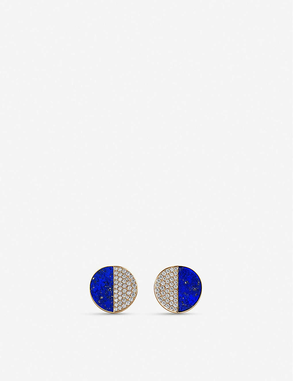BUCHERER FINE JEWELLERY: B-dimensions 18ct yellow-gold, diamond and lapis stud earrings