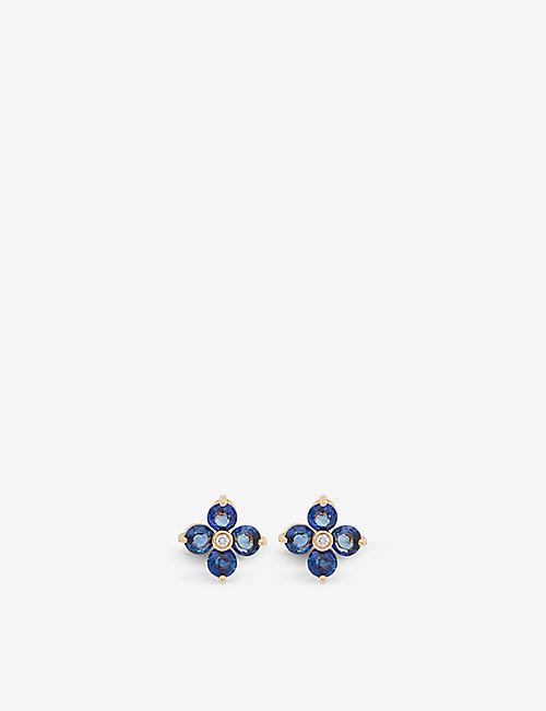 BUCHERER FINE JEWELLERY: Coloured Gems 18ct rose-gold, sapphire and diamond earrings