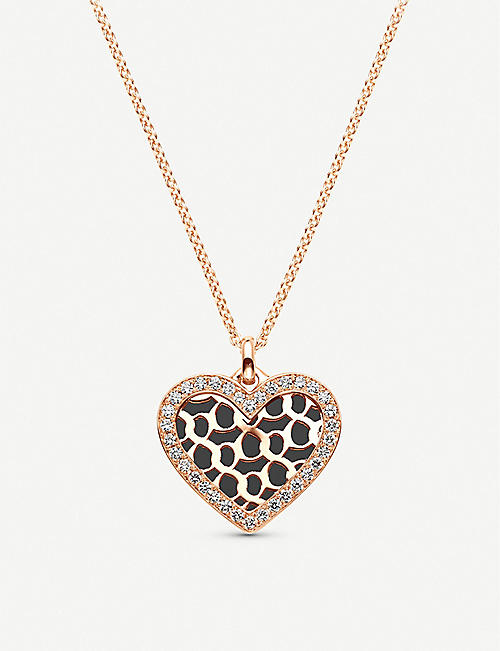 BUCHERER FINE JEWELLERY Infinite Love 18ct rose-gold, onyx and diamond necklace